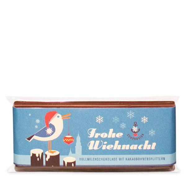 Weihnachts-Möwe –Vollmilchschokolade mit Kakaobohnensplittern