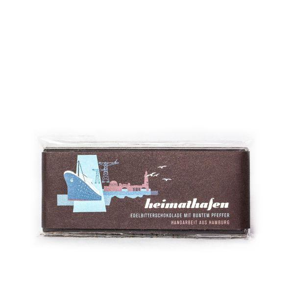 Schokovida Heimathafen lütt – Edelbitterschokolade mit buntem Pfeffer