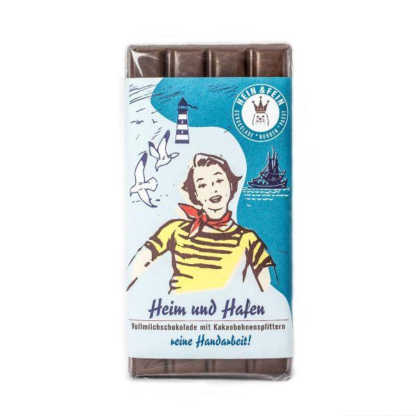Schokovida Heim & Hafen – Vollmilchschokolade mit Kakaobohnensplittern,