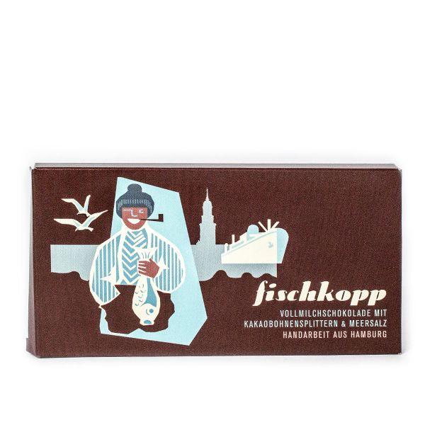 Schokovida Fischkopp – Vollmilchschokolade mit Kakaobohnensplittern und Meersalz,