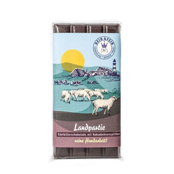 Schokovida Landpartie Edelbitterschokolade mit Kakaobohnensplittern