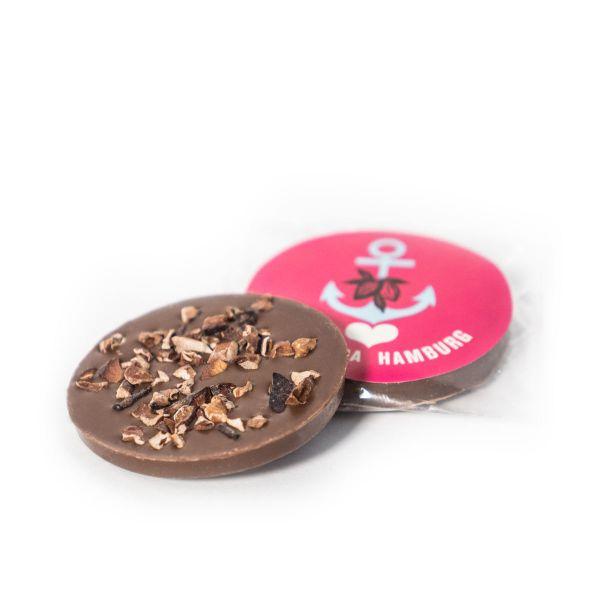 Schokovida Schokotaler aus Vollmilchschokolade mit Kakaobohnensplittern