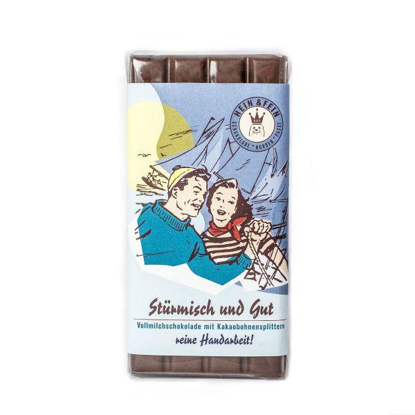 Schokovida Stürmisch und Gut Vollmilchschkolade mit Kakaobohnensplittern,