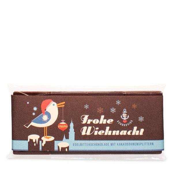 Weihnachts-Möwe – Edelbitterschokolade mit Kakaobohnensplittern