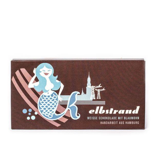 Schokovida Elbstrand weisse Schokolade Blaumohn Tafel