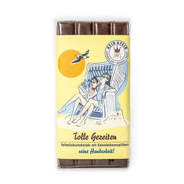 Tolle Gezeiten Schokovida Vollmilchschokolade mit Kakaobohnensplittern,