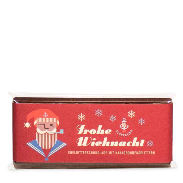 Santa – Edelbitterschokolade mit Kakaobohnensplittern