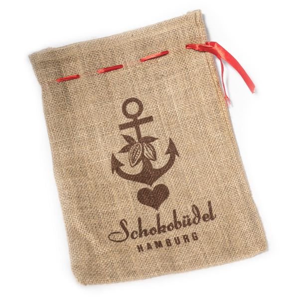 Schokovida Schokobüdel bedruckter Jutebeutel