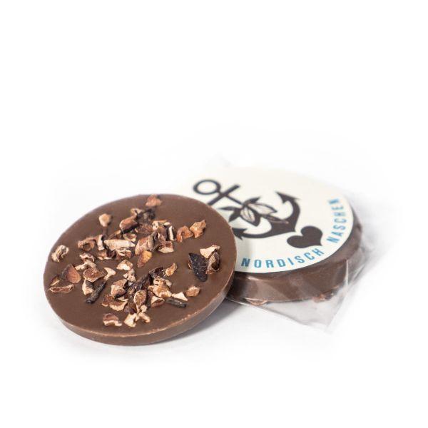 Schokovida Schokotaler aus Edelbitterschokolade mit Kakaobohnensplittern