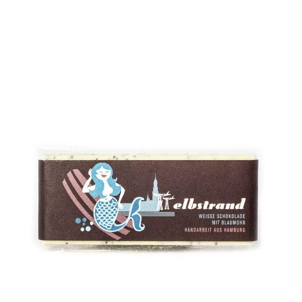 Schokovida Elbstrand lütt – Weiße Schokolade mit Blaumohn