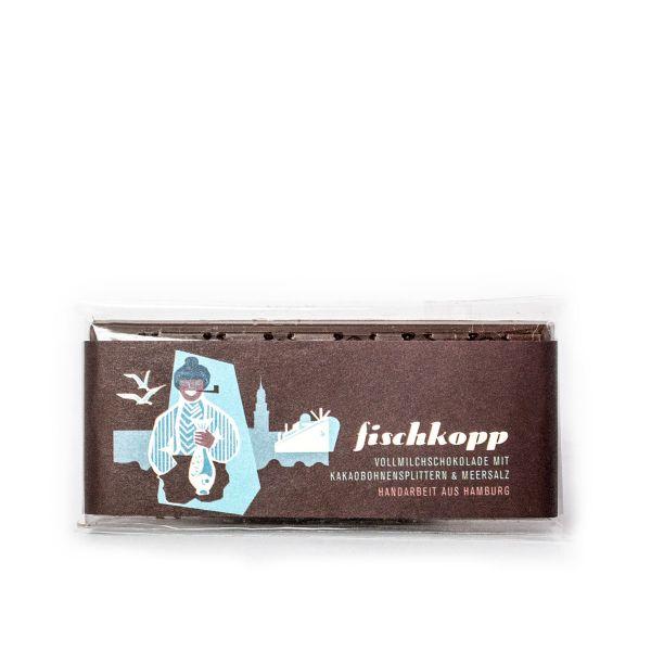 Schokovida  Fischkopp lütt – Vollmilchschokolade mit Kakaobohnensplittern und Meersalz,